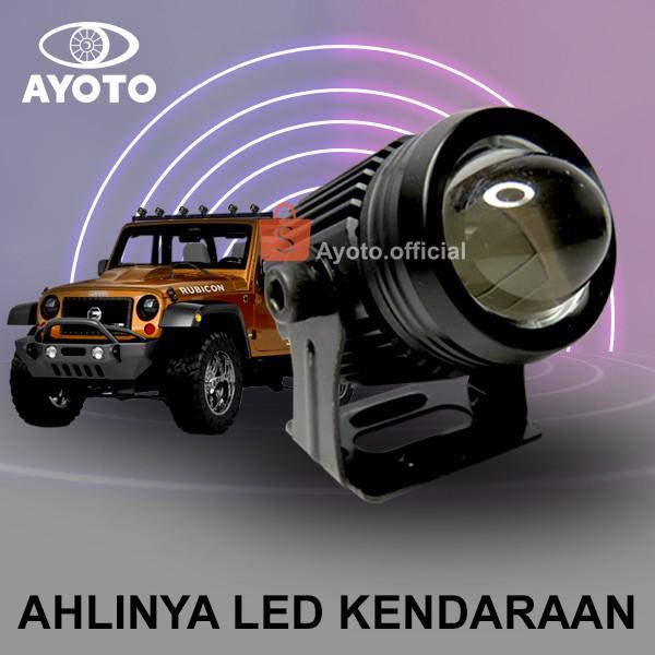 h6yt6 Lampu Tembak Projie LED Motor AYOTO F02 Putih dan Kuning Watt 18+18