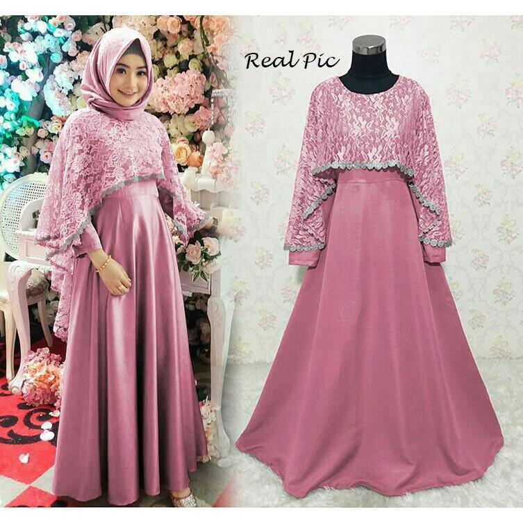 Ready Baju Gamis Pesta Remaja Brokat Brukat Kombinasi Polos Mewah Premium Modern Tiara Warna Pink