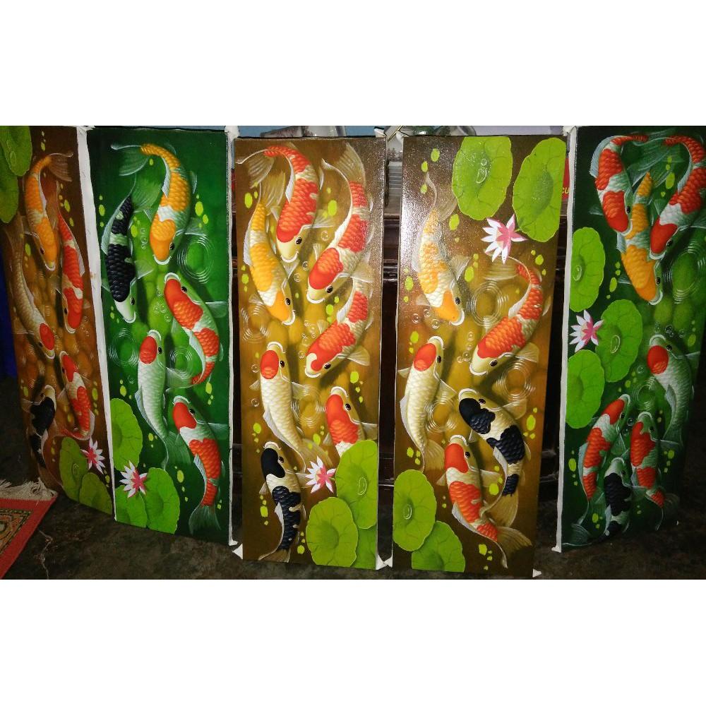 Ku7y Lukisan Ikan Koi Hiasan Dinding Dekorasi Rumah Kaligrafi Mei B Shopee Indonesia
