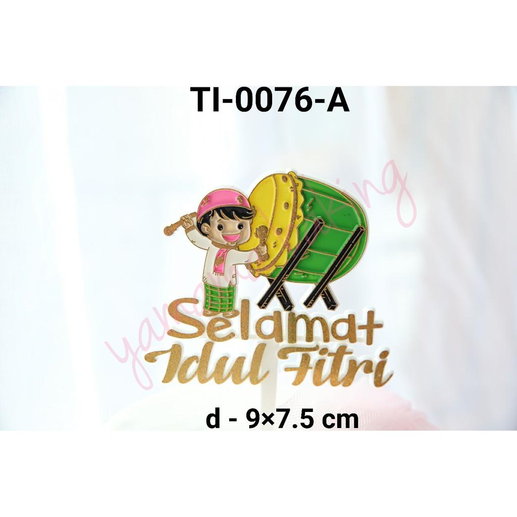 Ti 0076 A Cake Topper Tulisan Selamat Idul Fitri Pukul Bedug Gold