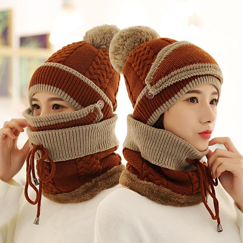 ✈◇♟Musim dingin topi versi perempuan Korea ditambah beludru Fashion ratus leher masker wanita kola