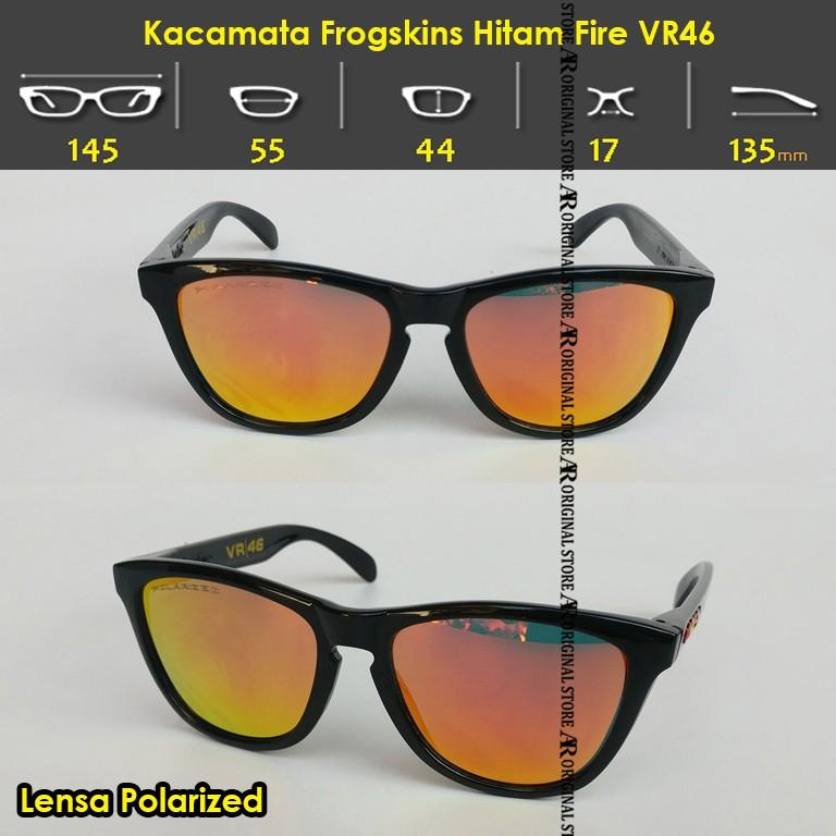 0ad9df6513b Kacamata Frogskin VR46 Sunglass Frogskins Frame Kacamata Hitam VR-46 Lensa  Polarized Black Fire