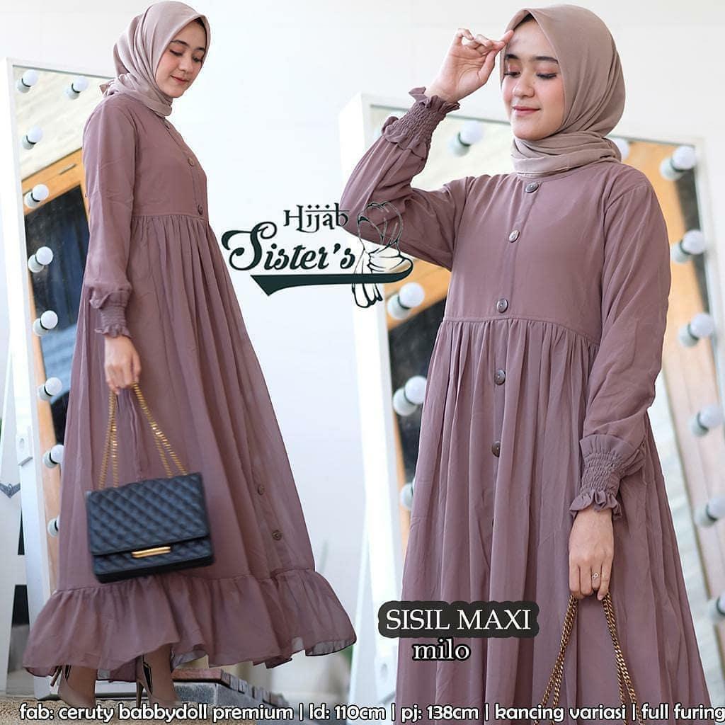COD-Baju Gamis Muslim Wanita Terbaru 8 SIZE M-L-XL BAHAN KATUN RAYON  KANCING DEPAN GAMIS POLOS