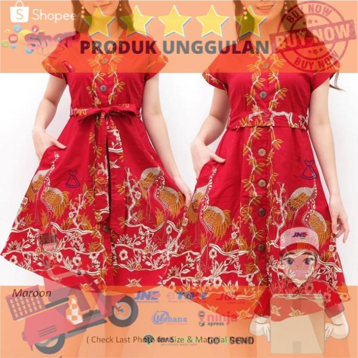 Dress Imlek Batik Wanita Dress Busui DEVA BATIK DRESS Bahan Katun Adem