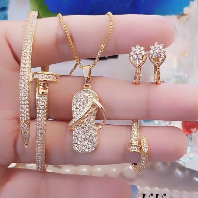 Perhiasan Xuping Satu Set lapis emas 24k 2604 | Shopee ...