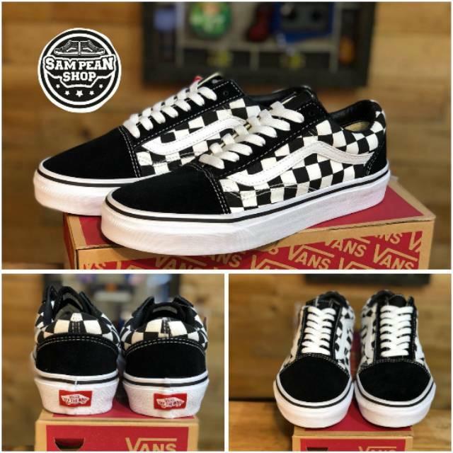 e4c5231043 Sepatu vans slip on checkerboard premium import motif catur sneakers pria  kualitas grade original
