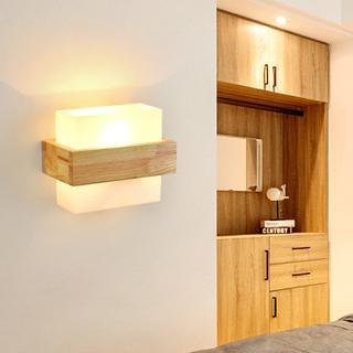 modern minimalis seni kayu lampu dinding kamar tidur lampu