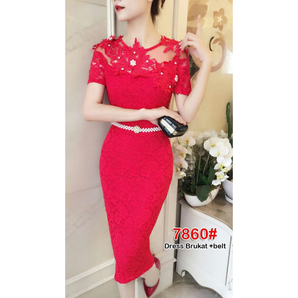 Long dress 9329 / baju pesta / baju party / gaun brukat / gaun brokat /