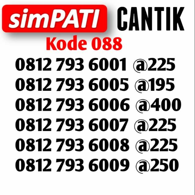 Toko Online alancard | Shopee Indonesia -. Source · Kartu Perdana Telkomsel Nomor Cantik Simpati
