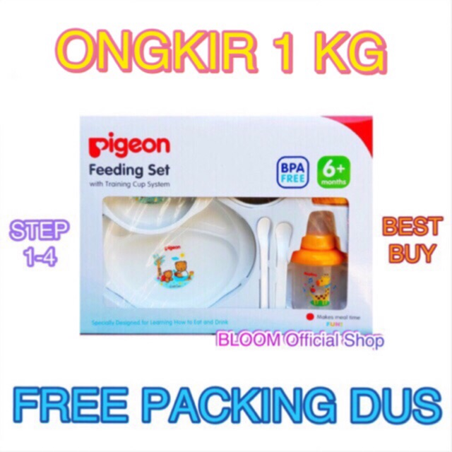 PIGEON Feeding Set with Training Cup System 6+ Months BPA Free Peralatan Makan Bayi Besar Large Gift | Shopee Indonesia