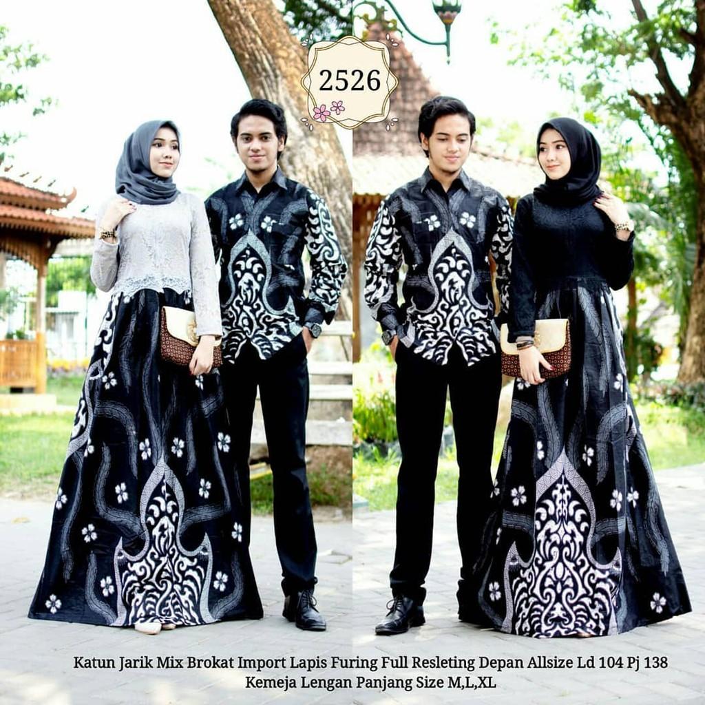 Batik Couple Gamis Brokat 2526 Hitam Putih Baju Batik Untuk Pesta Kondangan