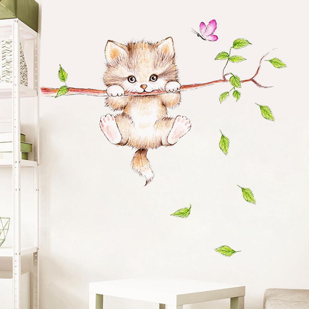 Stiker Dinding Dengan Bahan Mudah Dilepas Gambar Kartun Kucing Warna Hijau Untuk Dekorasi Rumah