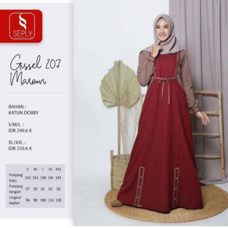 Seply Gissel 207 Maroon Promo Gamis Model Terbaru 2021 Syari Busui Ethica Seply Remaja Cod Shopee Indonesia