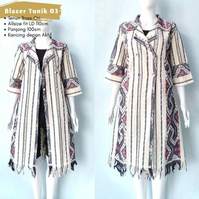 Blazer Tunik Tenun Troso Lurik Asli Jepara Bisa Dua Model Blazer Or Tunik Shopee Indonesia