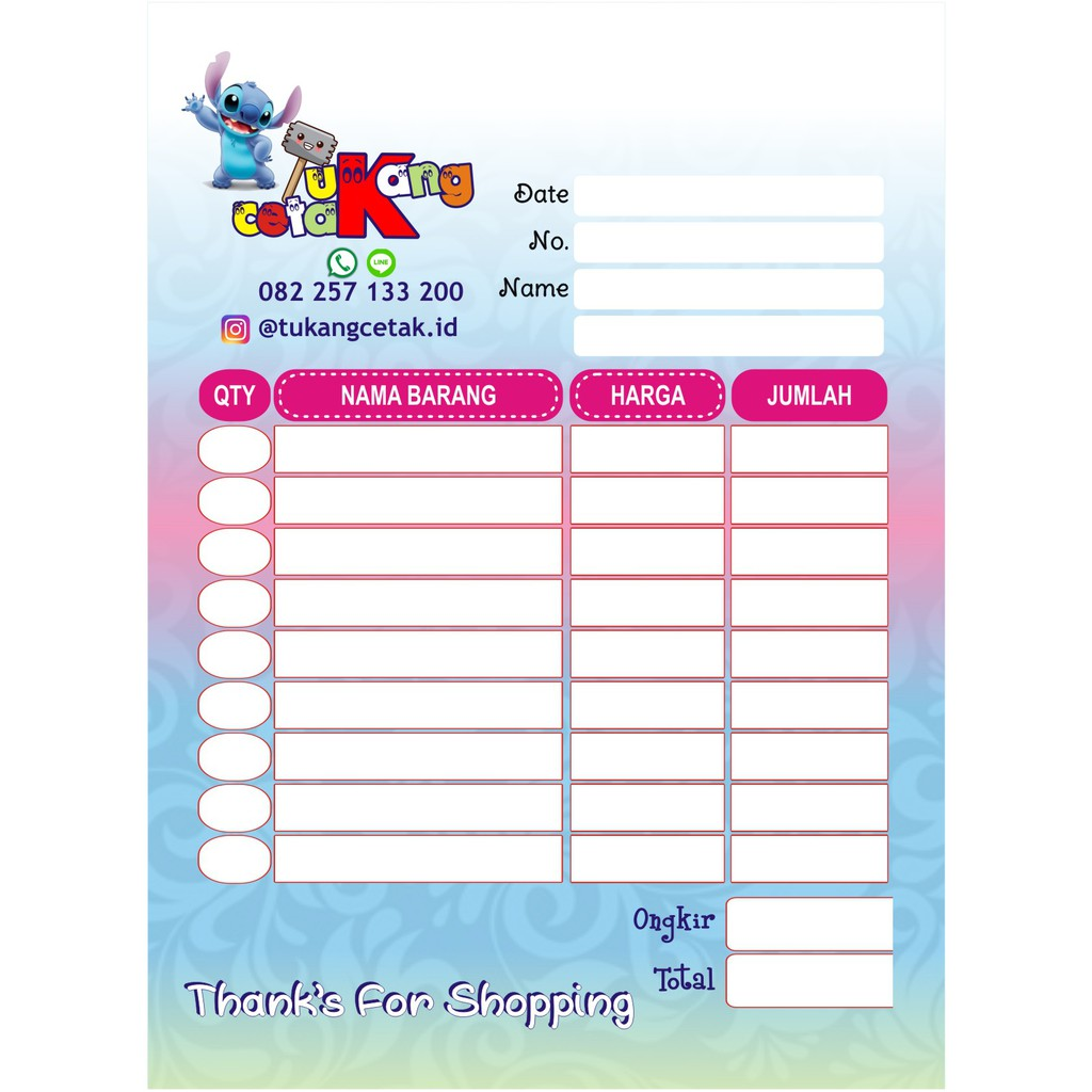 Isi100 Nota Custom Online Shop Olshop Full Color ¼folio Ncr