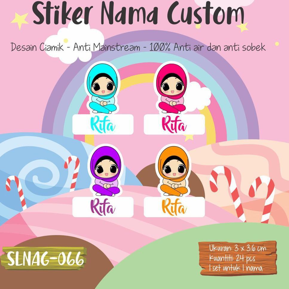 Stock Terbatas SLNAG 066 Sticker Nama Anak Kartun Girl Muslimah Cute Funny Hijab Jilbab Stiker Anti