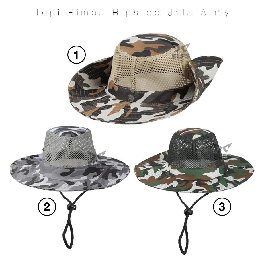 Topi Rimba Ripstop Jala Jaring Army Loreng Camouflage  1b2096bd54