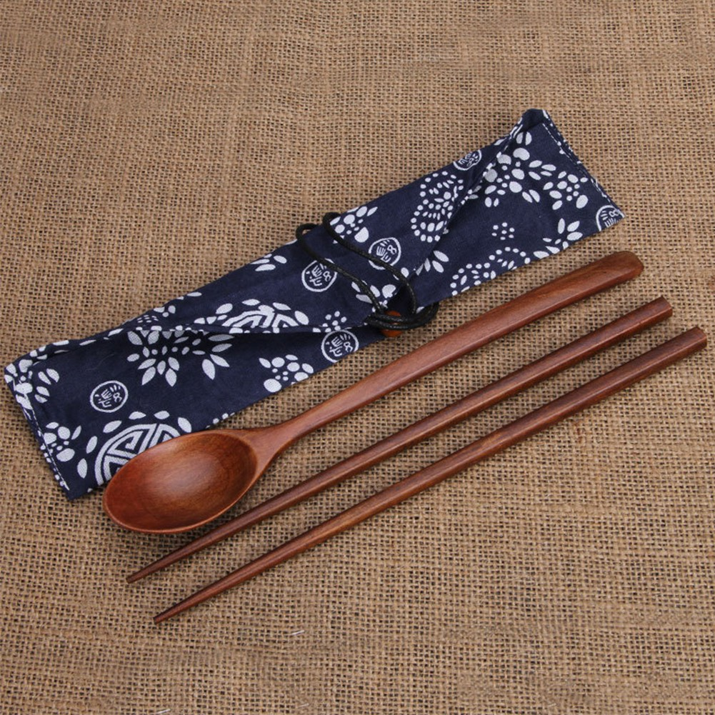Wooden Spoons Chopsticks Set with Portable Pouch Long Handle Soup Spoon