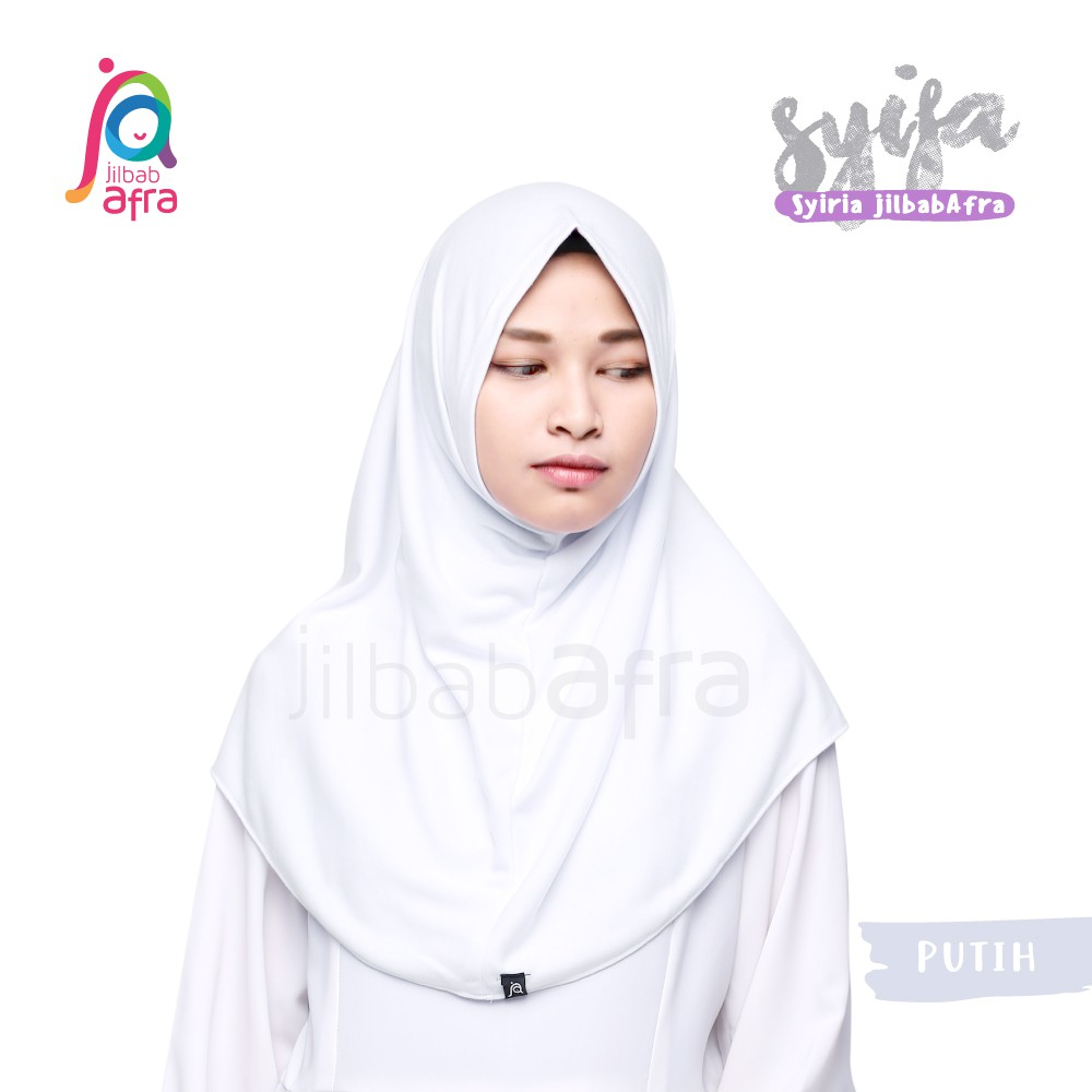 Jilbab Afra Syifa Putih Bergo Tanpa Pet Bergo Kaos Syiria Syar I Kerudung Instan Shopee Indonesia