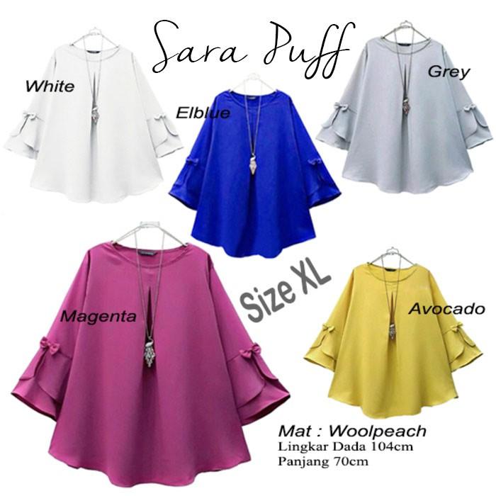Sara Puff Blouse Baju Muslim Blus Blouse Atasan Wanita BL1061 | Shopee Indonesia
