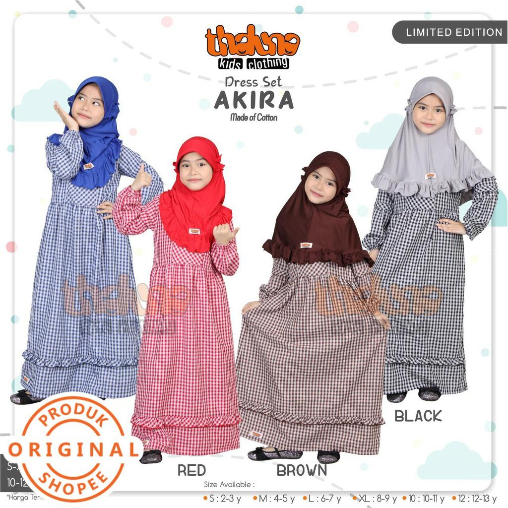 Baju gamis anak terbaru 10 katun set jilbab motif kotak lengan lonceng  original Thaluna Akira