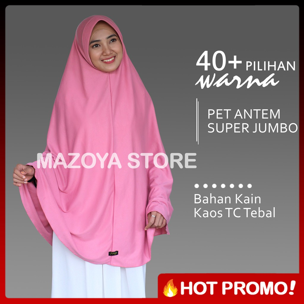 jilbab jumbo syari UK L / pet antem syra'i / khimar jumbo ukuran L (R3) untuk   Shopee Indonesia