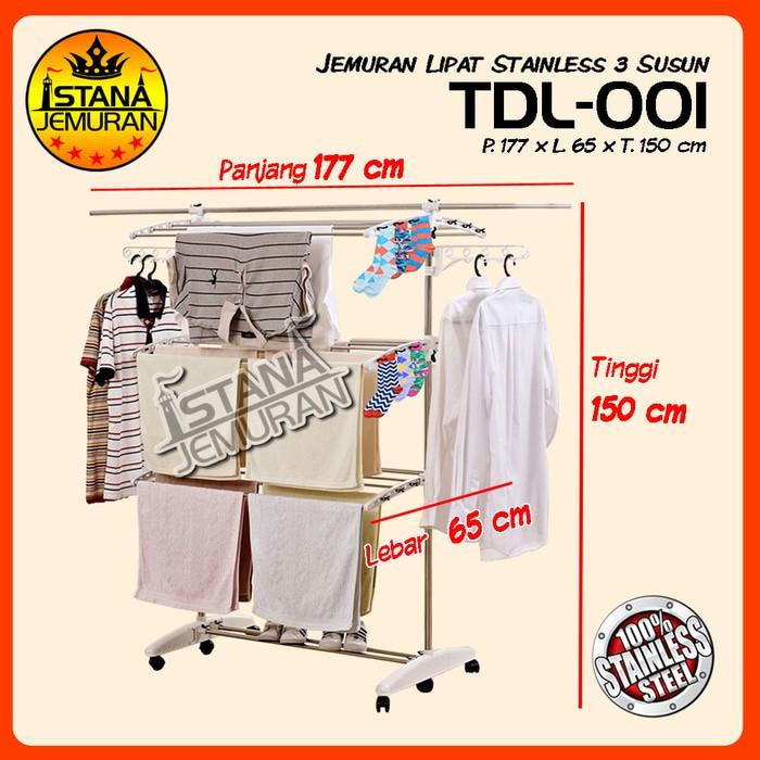 Jemuran Lipat Stainless 3 Susun / Laundry Rack / Rak Gantungan Baju | Shopee Indonesia