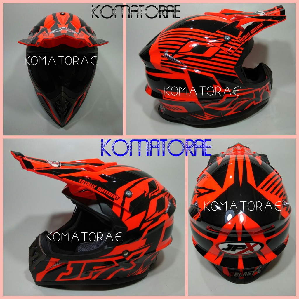 Helm Jpx Cross Full Face Street Fighter Standar Sni Trail Trabas Mds Super Moto Motif Supermoto Klx Black Dof Hitam Polos Shopee Indonesia