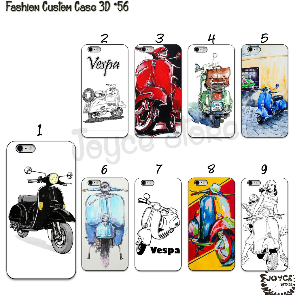 5aP1 [JS 56] Fashion Hardcase 3D SCOOTER VESPA Fullprinting For All Type