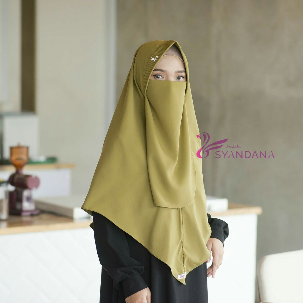 Promo Hijab Khimar Jilbab Kerudung Bergo Syari Niqab Cadar Warna Olive Bahan Wolvis Shopee Indonesia