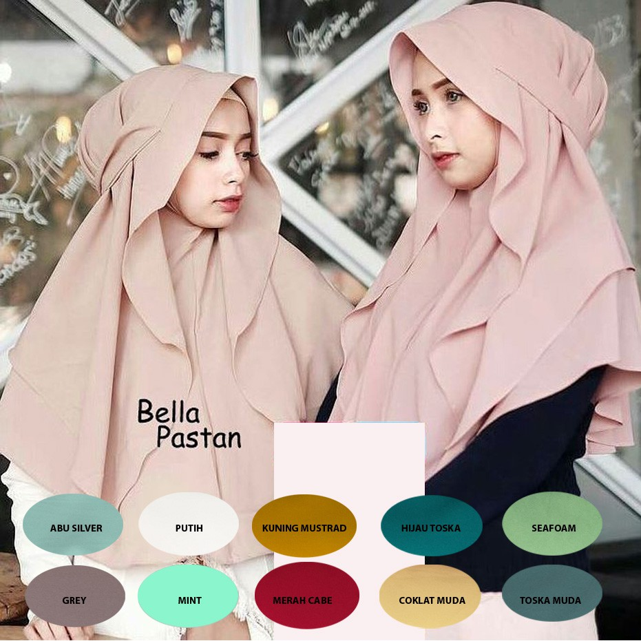 Sale Pashmina Instan Pastan Bella Shopee Indonesia Kolong Permata Kancing Buble Pop By Ellya Hijab