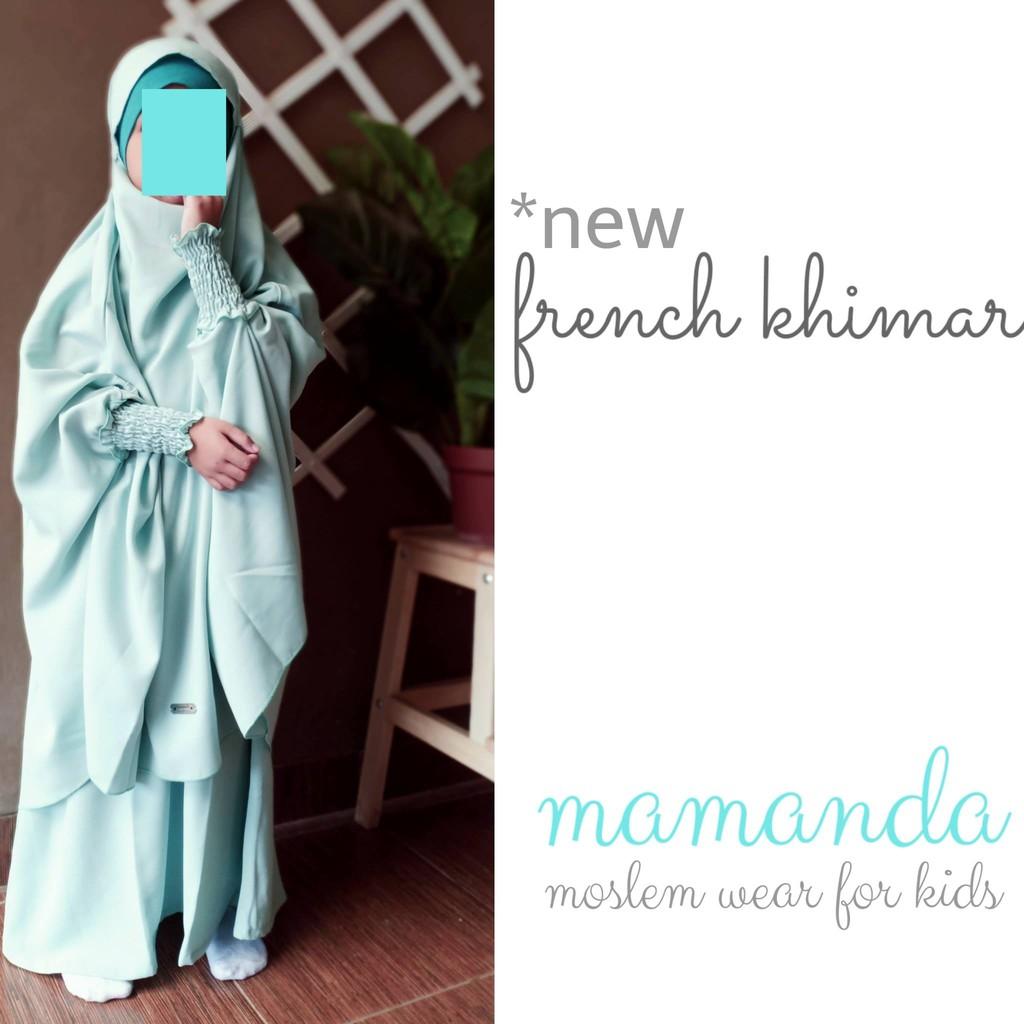 Gamis Anak French Khimar Cyan Mukminat Series by Mamanda