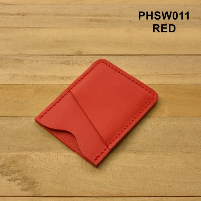 dompet kartu simpel kulit asli - slim wallet - dompet minimalis merah