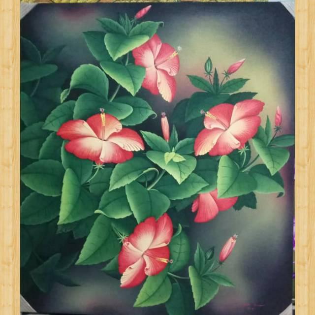 Lukisan Realis Bunga Sepatu Orange Shopee Indonesia
