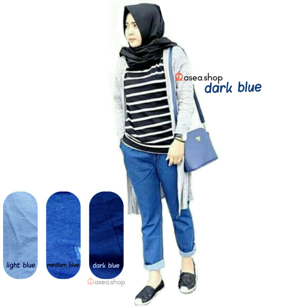 Belanja Online Jeans Pakaian Wanita Shopee Indonesia Rok 7 8 Drakblue Jsk5012 Allsize