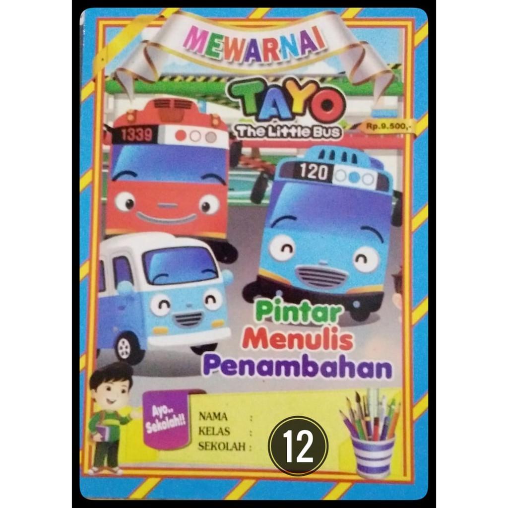 Buku Mewarnai Anak Belajar Membaca Dan Menulis Karakter Gambar Tayo