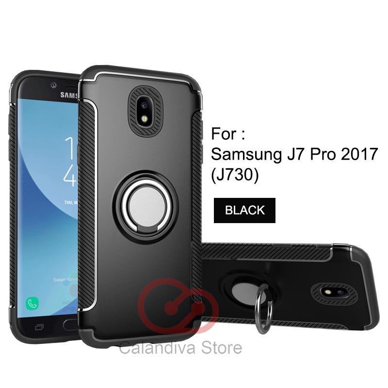 Calandiva Case Samsung Galaxy J7 PRO 2017 ( J730 ) Casing Ring Carbon Kickstand Hybrid Premium | Shopee Indonesia
