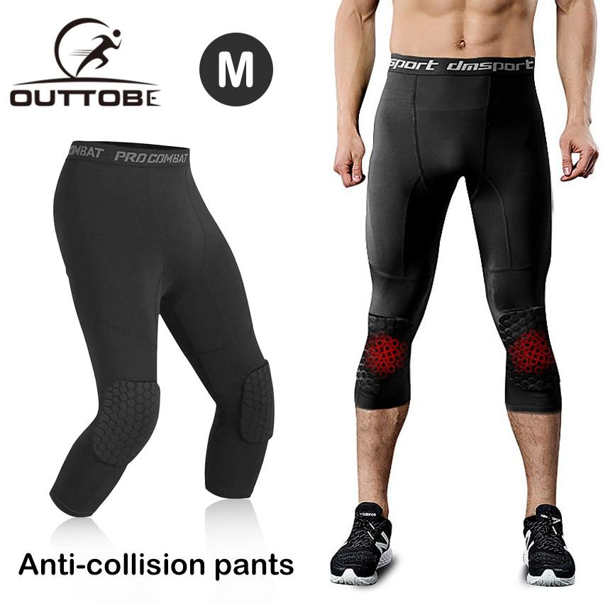 Celana Legging Panjang Pria Dengan Bantalan Lutut 3 4 Kompresi Anti Tabrakan Untuk Olahraga Basket Shopee Indonesia