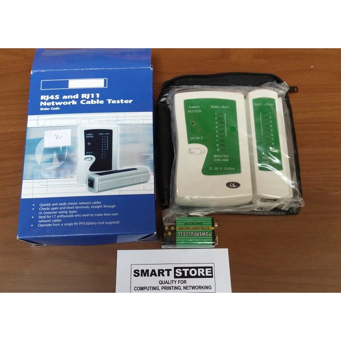 LAN Tester (Network Cable Tester) RJ45 + RJ11 Untuk Jaringan | Shopee Indonesia
