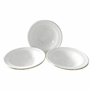 """Mangkok Puding 6.5"""" Set 3Pieces Putih Lis Emas / Mangkok Es"""