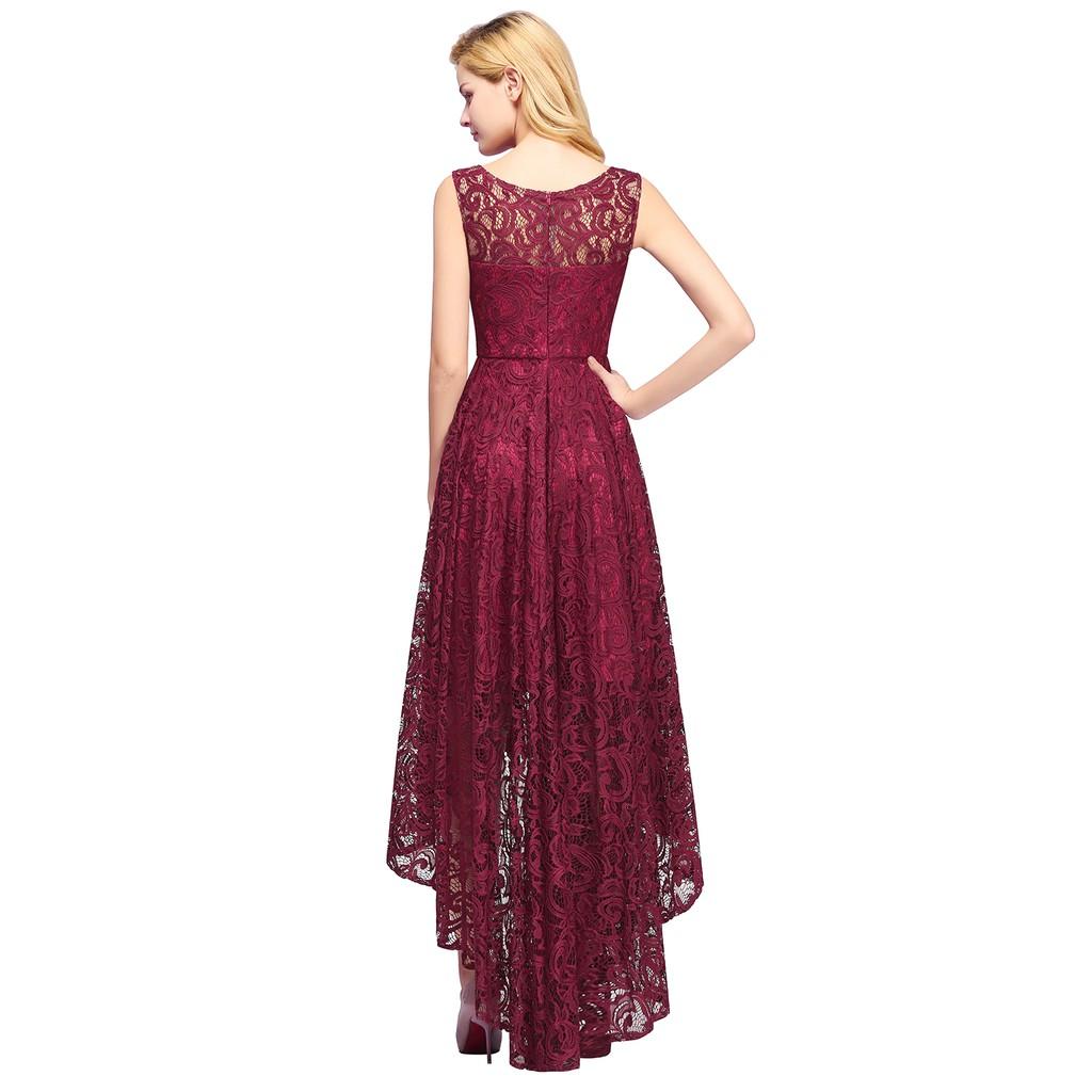 new evening dresses high low sleeveless burgundy long back short front prom  women party dress