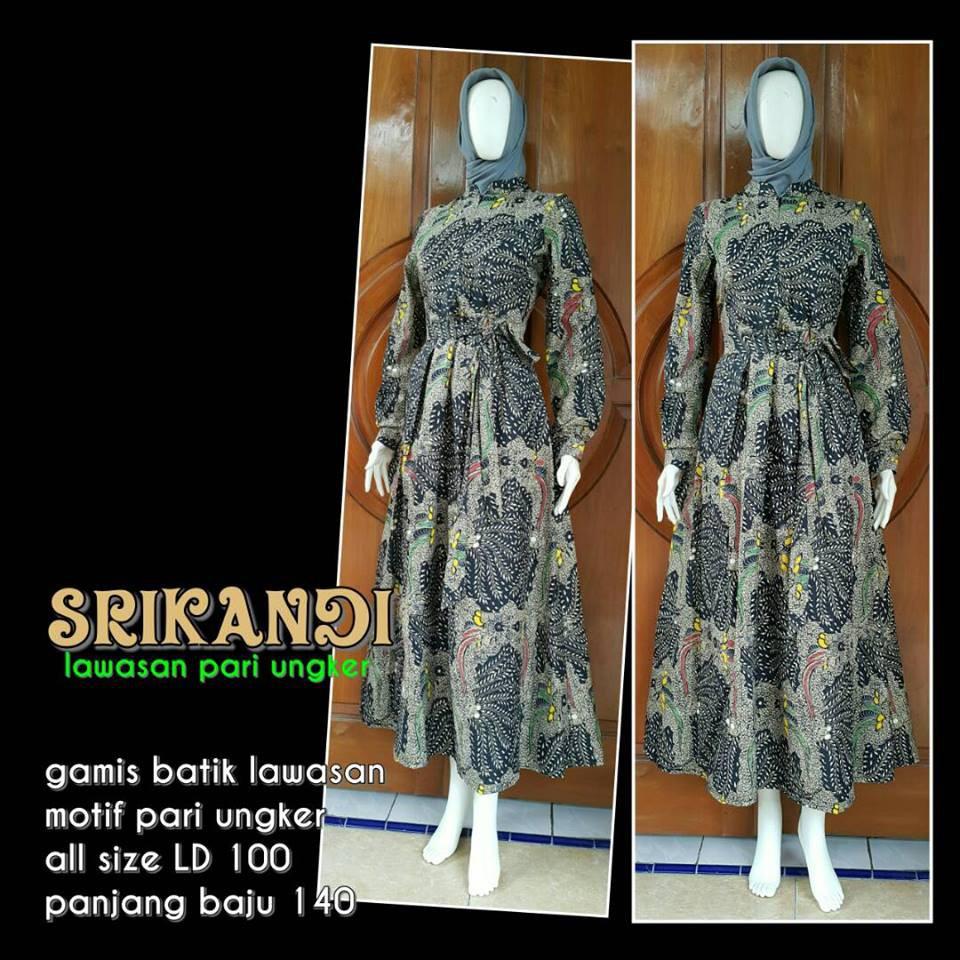 GAMIS BATIK SRIKANDI UNGKER PARI Baju Gamis Cantik Baju Muslim Batik