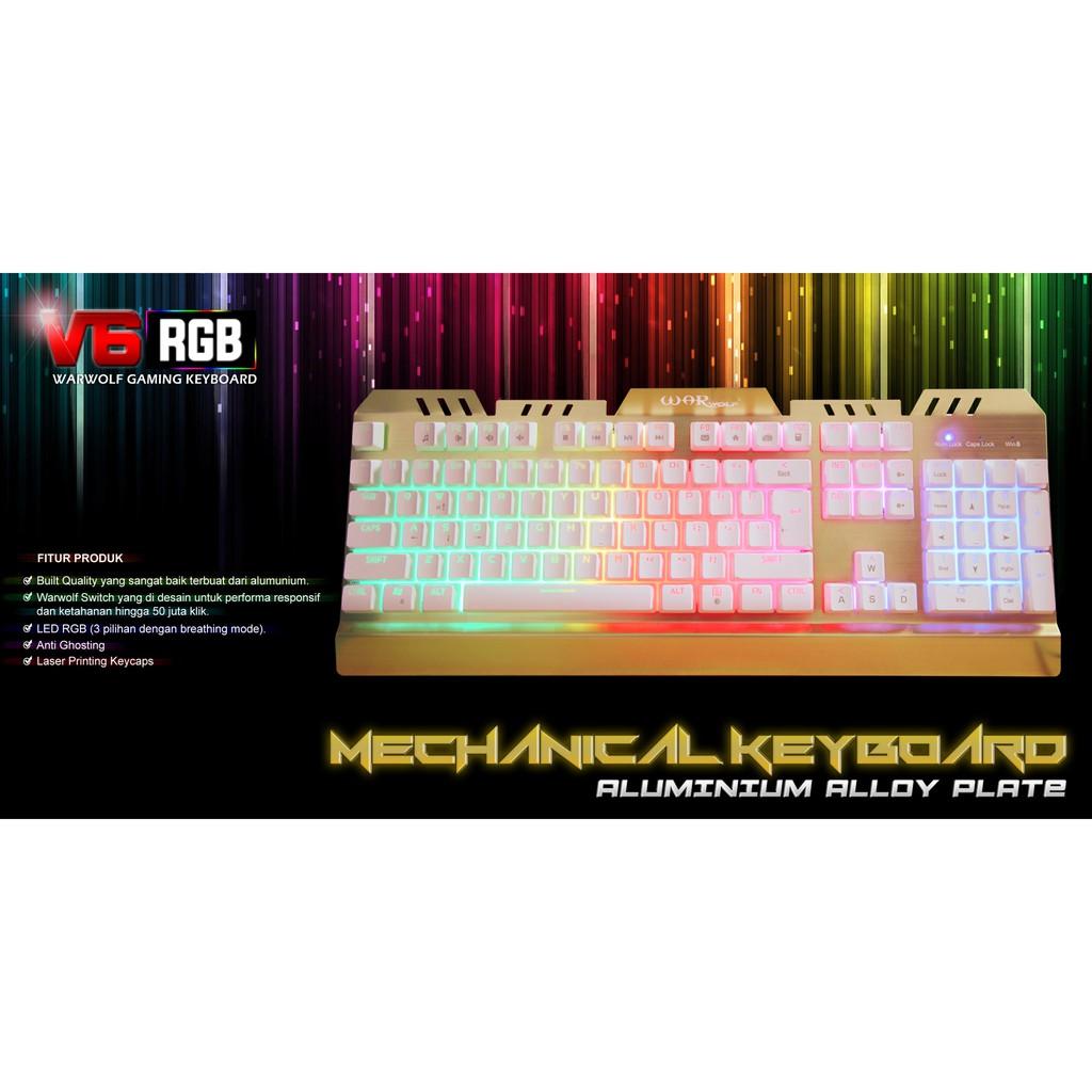 Warwolf V6 Aluminium With Mechanical Feel Keyboard Gaming Keybiard Shopee Indonesia