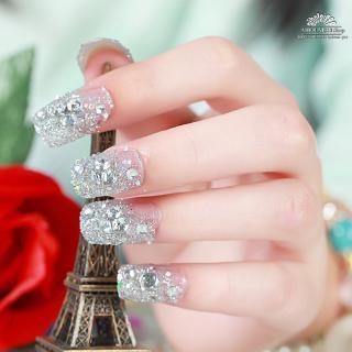 [Ready] 24Pcs Set Kuku Palsu Kristal Berlian Imitasi Warna Emas dengan Lem untuk Pernikahan 4