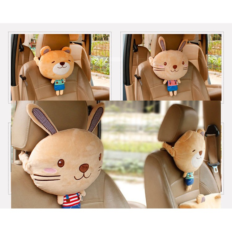 LUCU Set bantal sandaran kepala jok mobil unik headrest karakter brown cony Line Murah | Shopee Indonesia