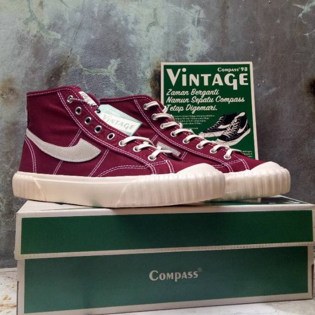 Sepatu Compass Vintage Hi Maroon Shopee Indonesia