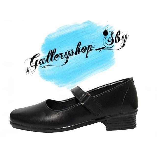 Sepatu Kulit Pantofel Flat Hitam Polos Sekolah Kerja Kuliah Cewek
