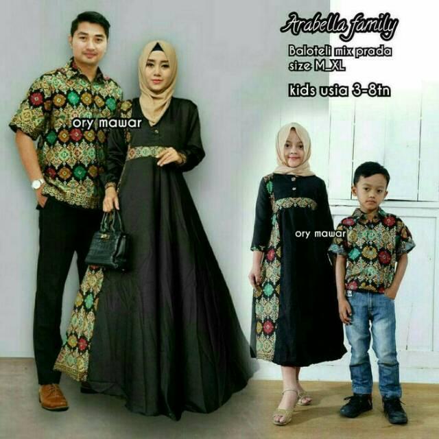 Baju Batik Couple Keluarga Batik Pasangan Model Muslim Baju Pesta Gamis Batik Wanita Arabella Family