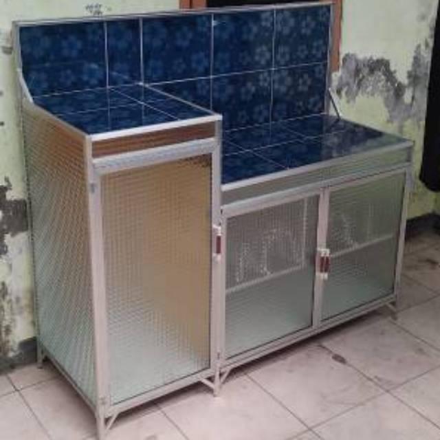 Desain Meja Dapur Island  meja kompor 3 pintu rak piring model l keramik almunium 115 x 41 5 x 109