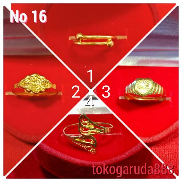 Cincin No 16 emas asli kadar 700 70% 22k 0.5 0.6 0.9 setengah gram gold model permata selisih love